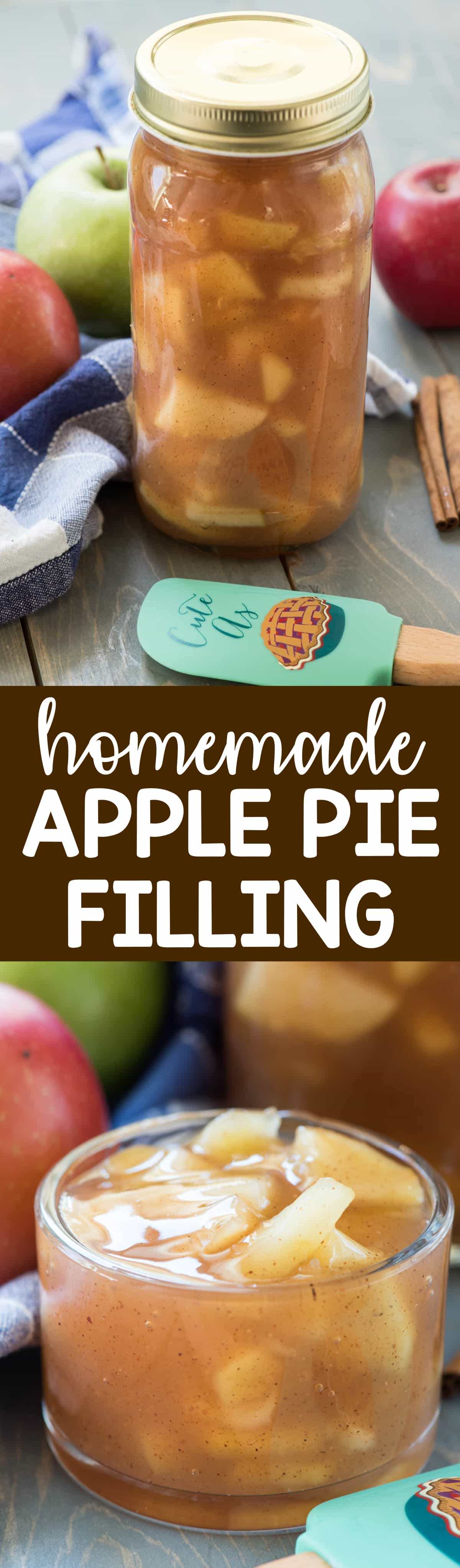 Homemade Apple Pie Filling - this easy recipe takes just a few minutes and tastes so much better than canned pie filling! Keep it in your freezer for when you want pie filling ASAP!