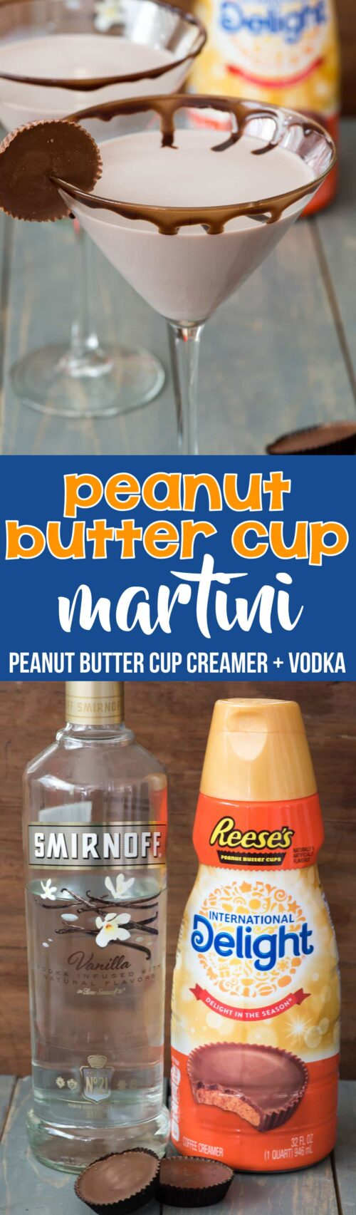 Easy Peanut Butter Cup Martini – just two ingredients and no fuss to your FAVORITE dessert martini ever!! Oh so sweet and chocolate, this is one of the best dessert cocktails I've ever had.