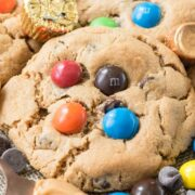 large peanut butter cookie with m and ms on top