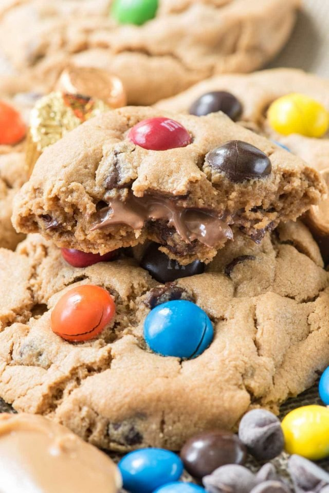 Candy Overload Flourless Cookies stuffed with peanut butter cups!