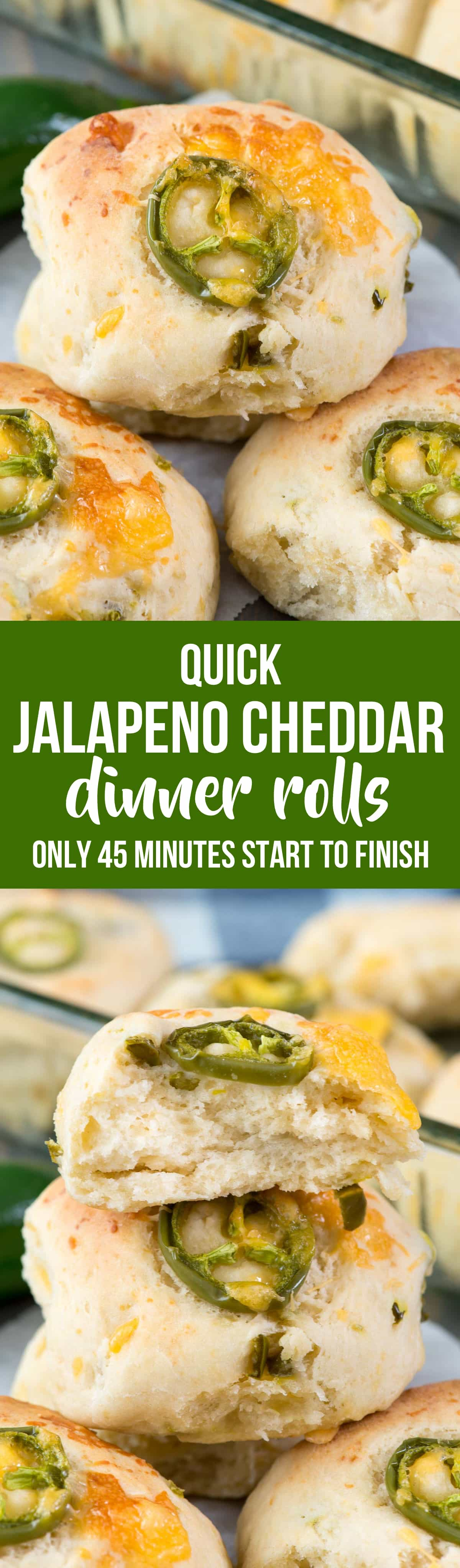 Quick Jalapeño Cheddar Rolls - this easy dinner roll recipe is made in under 45 minutes! The rolls are full of jalapeños and cheddar cheese and are the perfect side dish. Homemade rolls are always better!