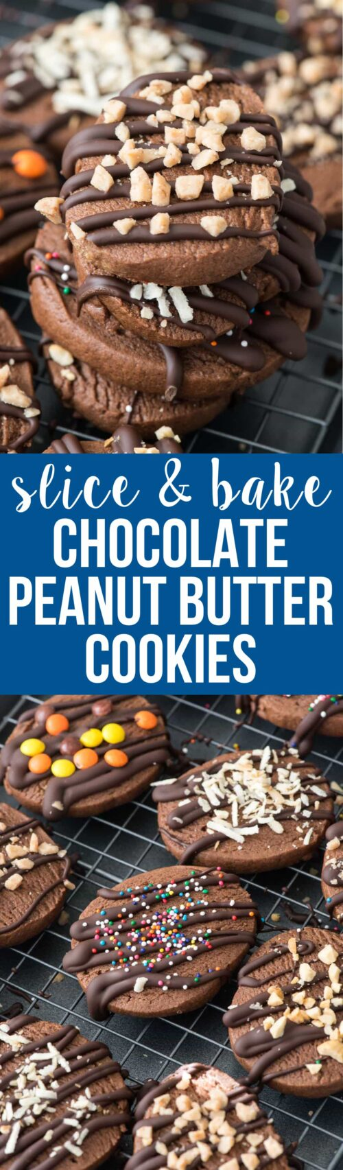 Slice and Bake Chocolate Peanut Butter Cookies - this easy slice and bake cookie recipe is full of chocolate and peanut butter! It's an easy cookie recipe for holiday plates!