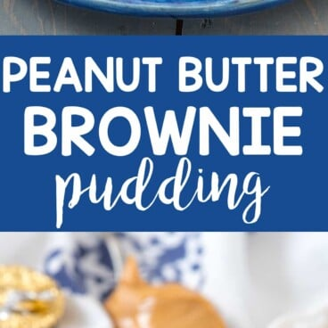 Two picture collage of Slow Cooker Peanut Butter Cup Brownie Pudding