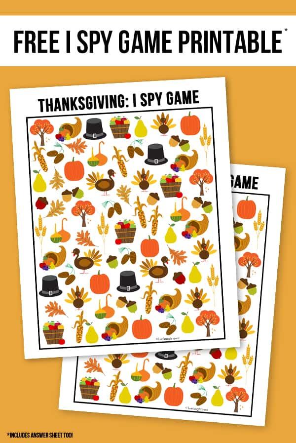 Thanksgiving themes I Spy Game printable.