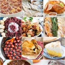 Collage of pictures that create a meal plan for Thanksgiving