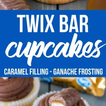 This easy cupcake recipe fills vanilla cupcakes with caramel and tops them with a chocolate ganache frosting like a Twix Candy Bar!