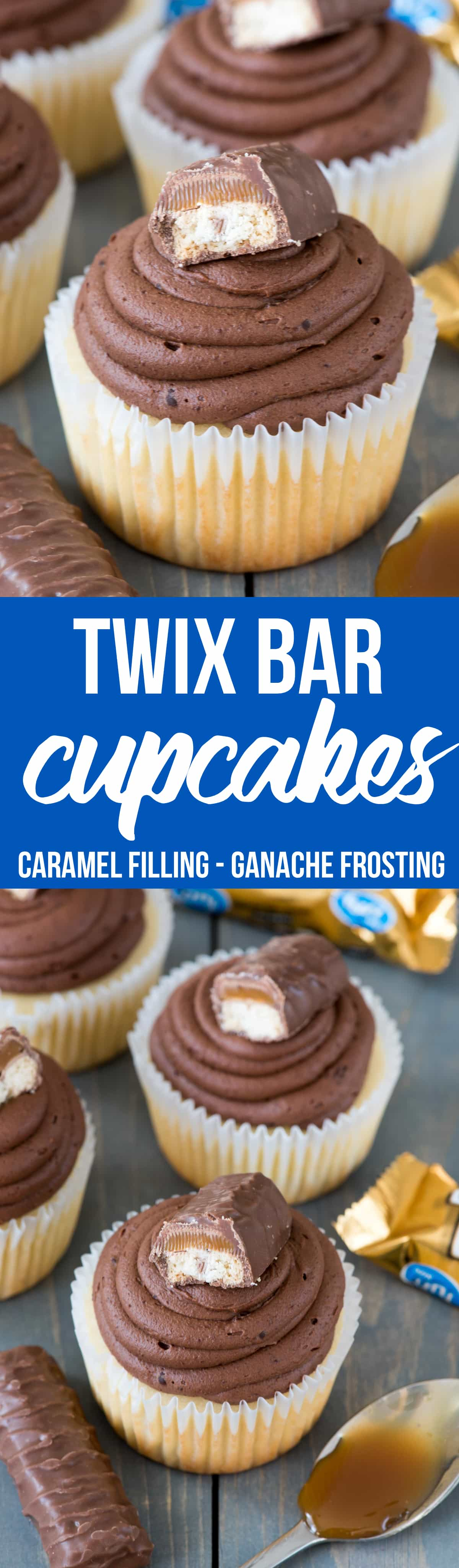 Easiest ever TWIX Cupcakes! This easy cupcake recipe fills vanilla cupcakes with caramel and tops them with a chocolate ganache frosting like a Twix Candy Bar!