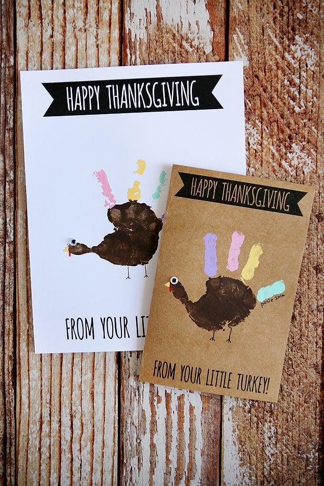 Handprint happy thanksgiving cards.