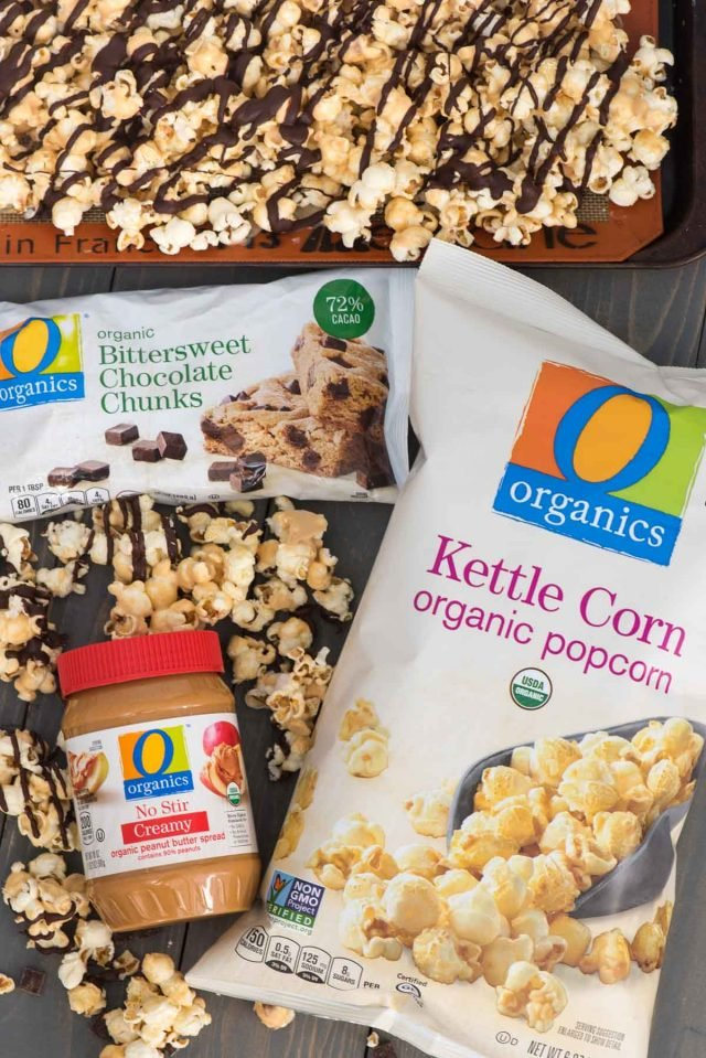 Chocolate Peanut Butter Popcorn using O Organics products from Safeway