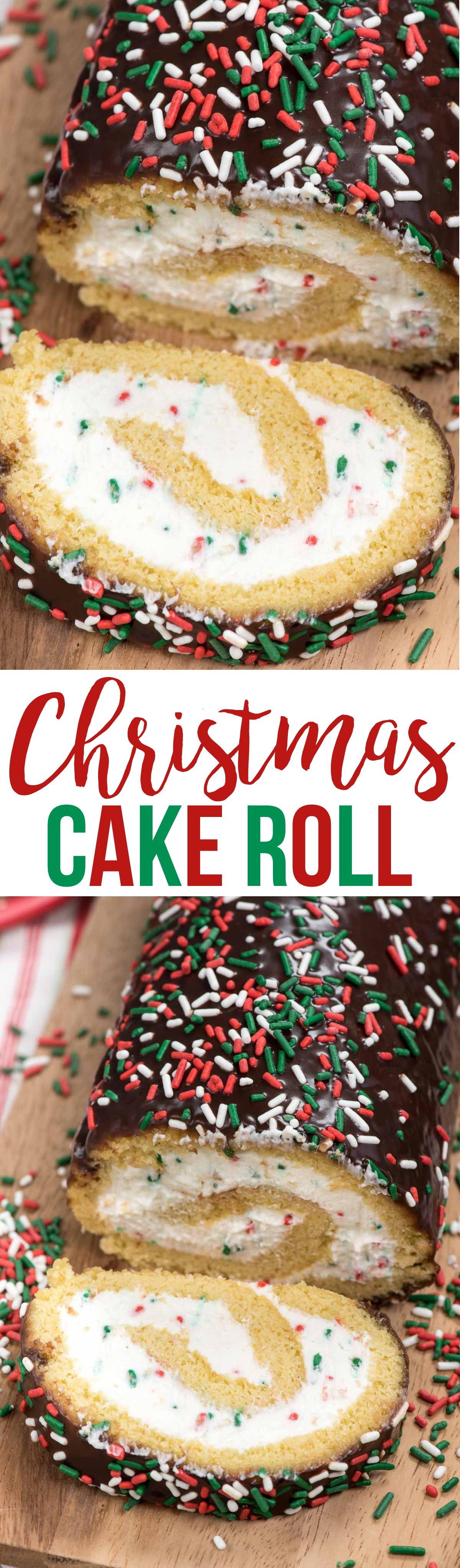 Make this Christmas Cake Roll for the perfect holiday dessert! A yellow cake roll filled with cream cheese whipped cream and sprinkles perfect for Christmas!