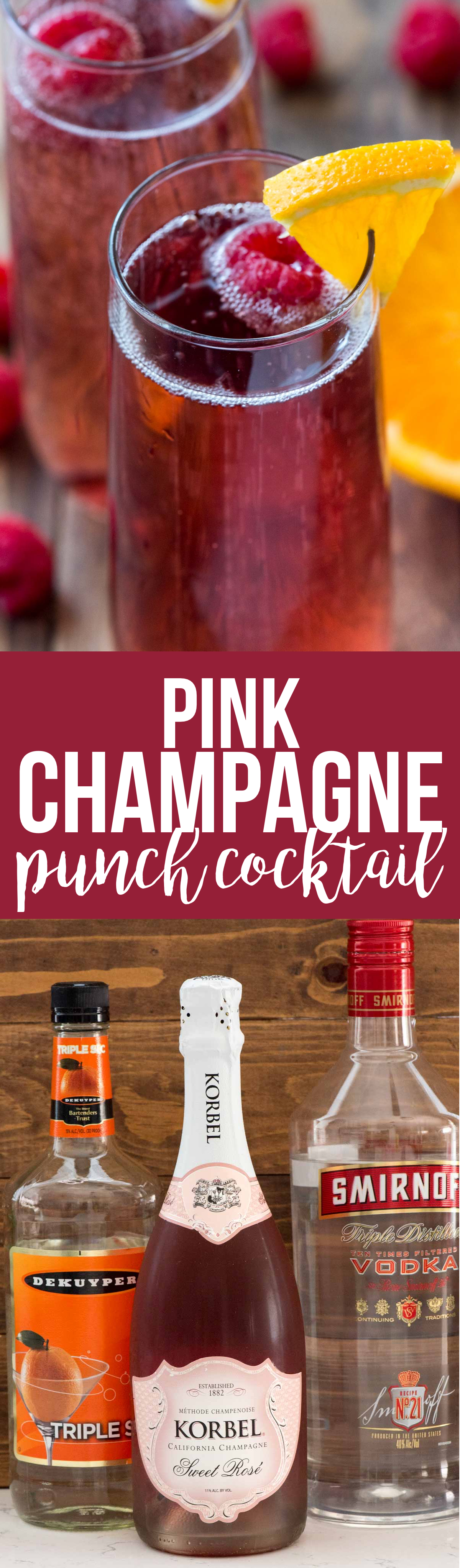 Pink Champagne Punch Cocktail is the perfect drink recipe for any occasion. Just three ingredients and it's pretty enough for a birthday, Christmas, or New Years Eve!