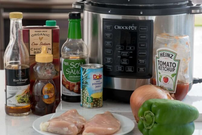 Ingredients to make shredded sweet and sour chicken in a pressure cooker