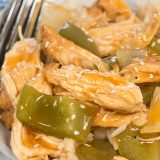 Shredded sweet and sour chicken is an easy pressure cooker recipe. It's perfect for an easy dinner and even the kids love it!