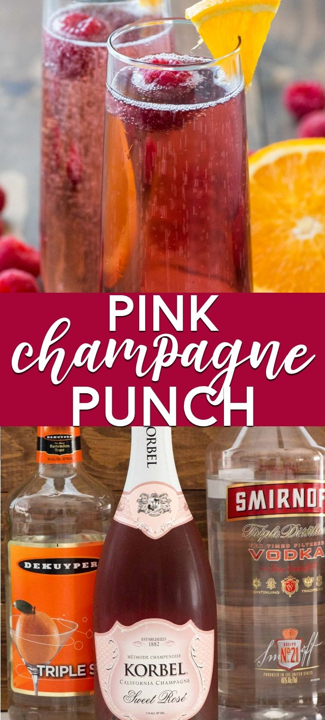 collage of pink champagne punch photos