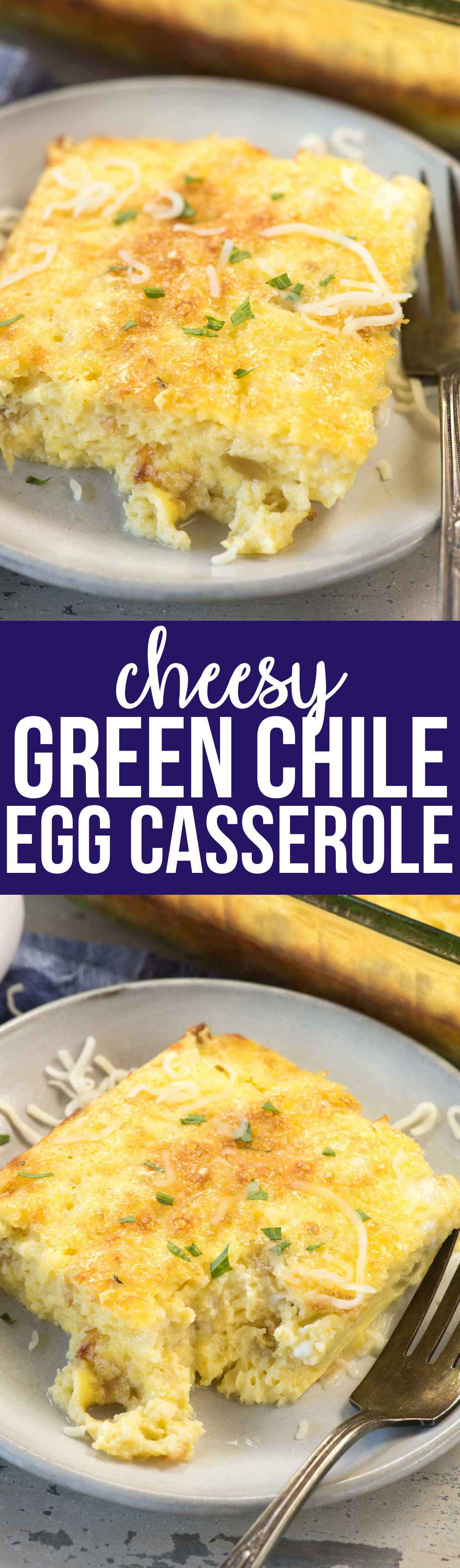 Cheesy Green Chile Egg Casserole is the perfect brunch recipe! It's got lots of cheese and some spice from green chiles; this recipe is a family favorite!