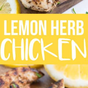 Collage of lemon herb chicken