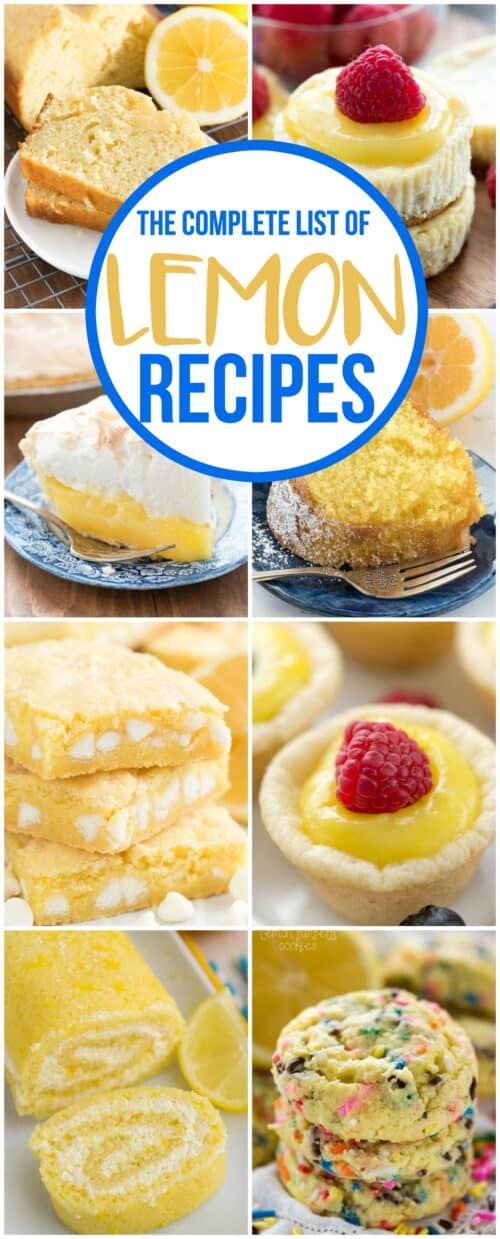 This is the COMPLETE list of lemon recipes from www.crazyforcrust.com. Everything you love about lemon desserts from pie to cookies and cake and more!