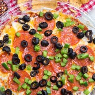overhead shot of pizza dip recipe