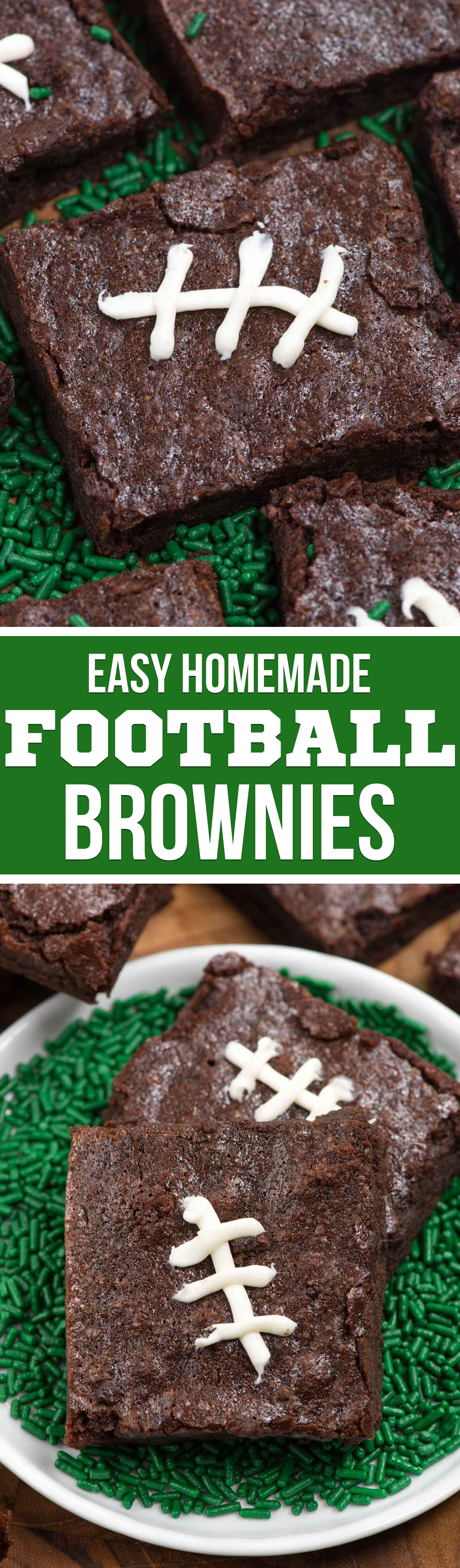 Homemade Football Brownies are the easiest way to celebrate the Super Bowl! Use homemade brownie mix and easy frosting to make a delicious football treat.