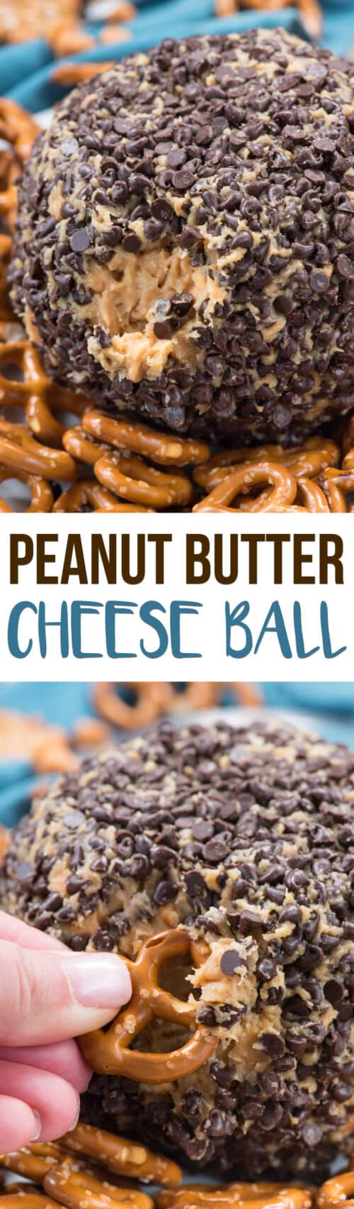 collage with two peanut butter cheese ball photos