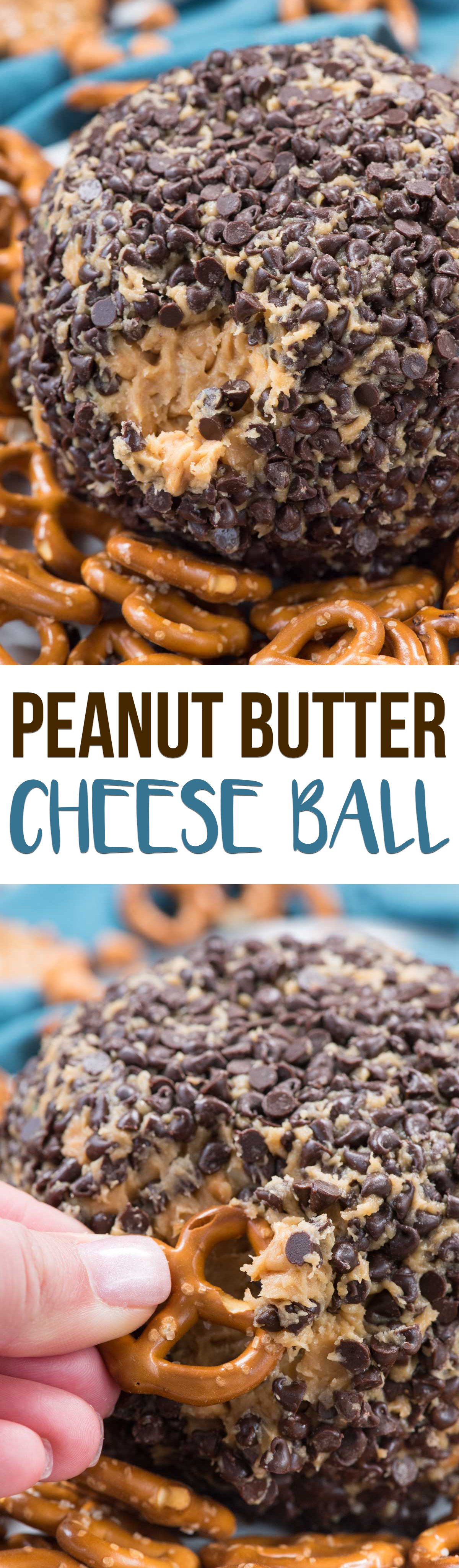 Peanut Butter Cheese Ball Dip is an EASY dessert dip recipe for a party! Peanut butter, cream cheese, butter, sugar and LOTS of chocolate make this the perfect addicting dip recipe for any occasion.