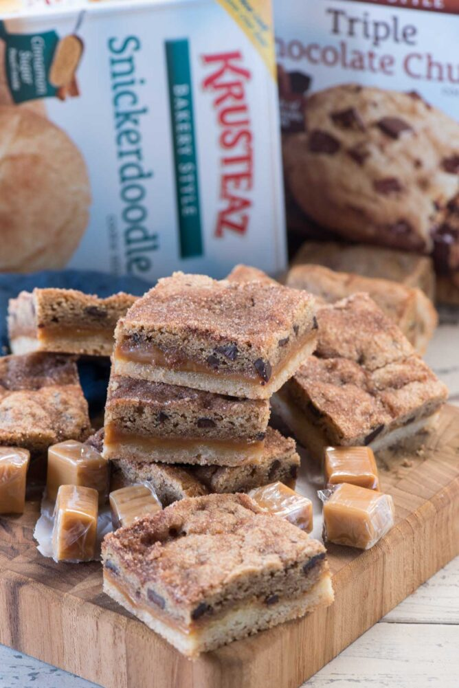 Snickerdoodle Caramel Cookie Bars with Krusteaz box