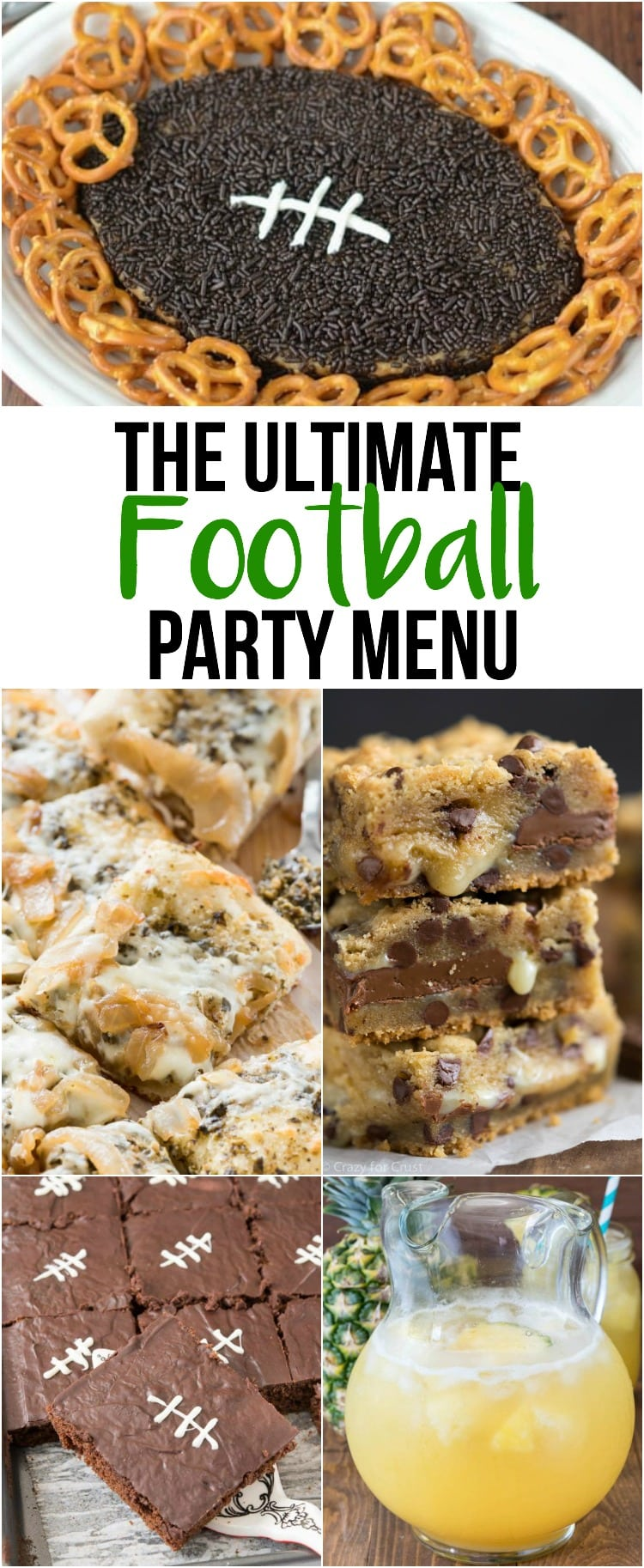 collage of football recipes