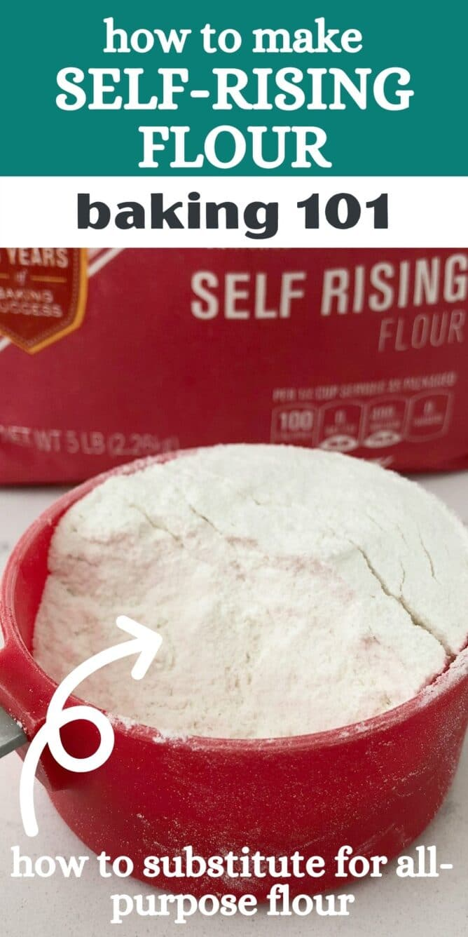 red measuring cup with flour in it and words on photo