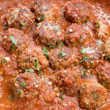 meatballs in sauce in pan