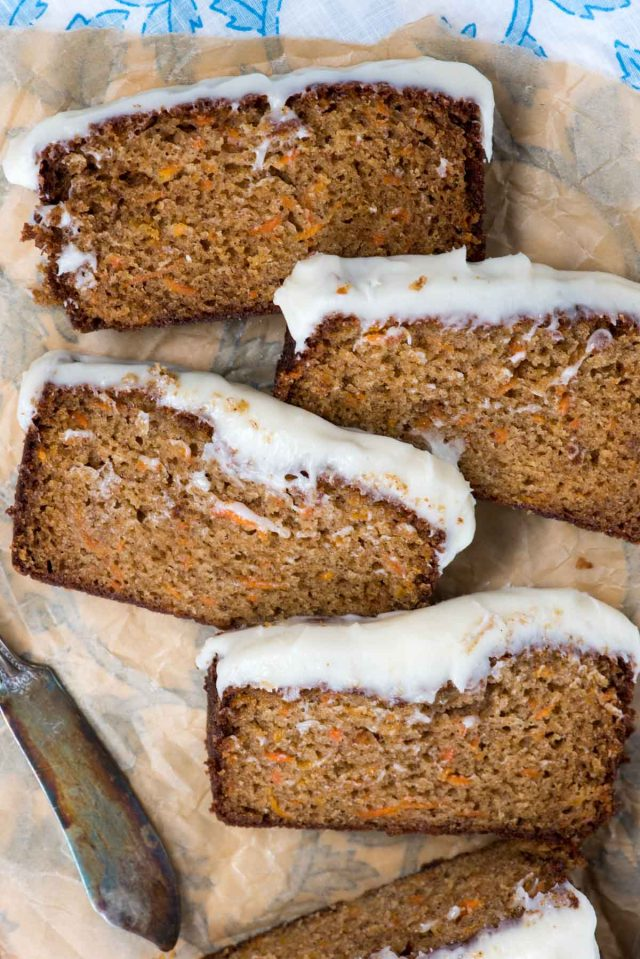 slices of carrot cake loaf