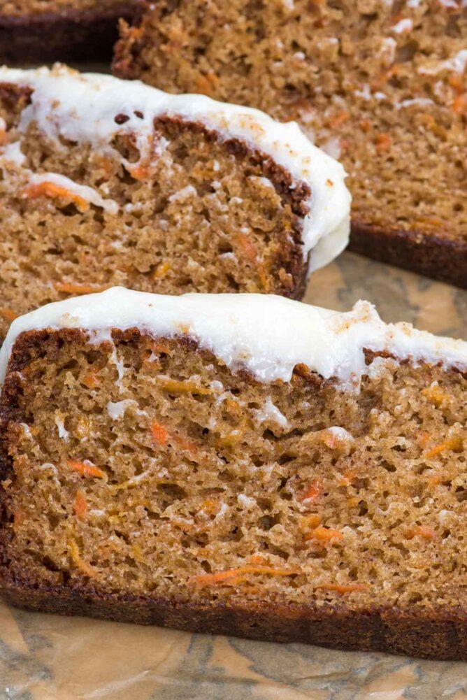 slices of carrot cake loaf
