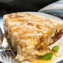 slice of pancake bake with syrup