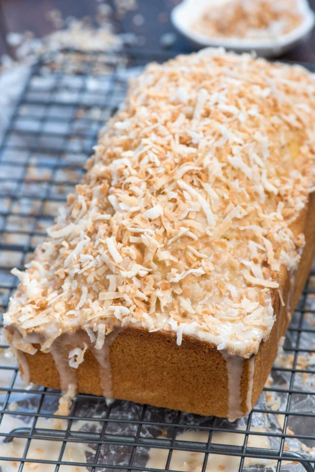 loaf of coconut pound cake