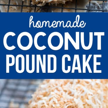 collage of coconut pound cake photos