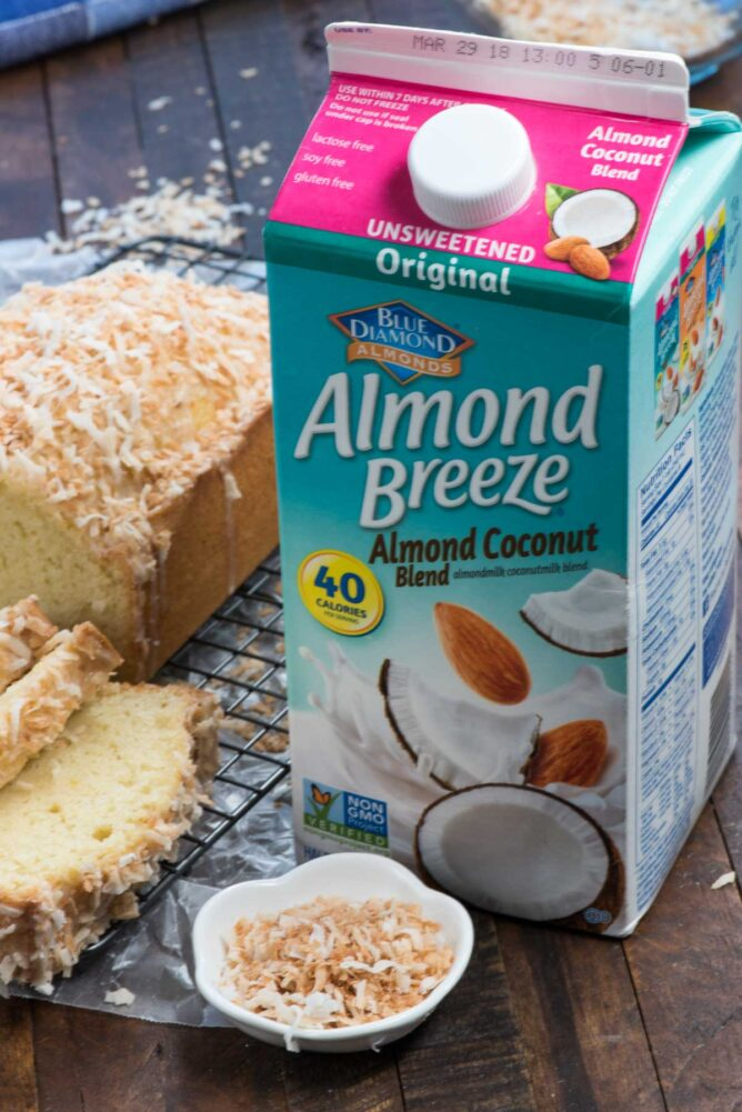 container of almond milk