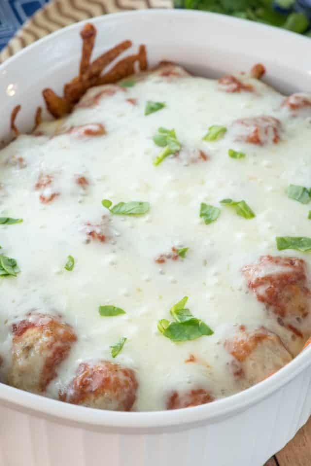 casserole dish with meatball casserole