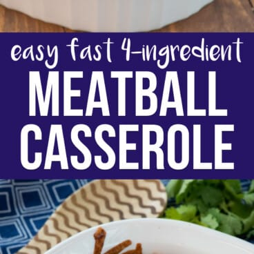 collage of meatball casserole photos
