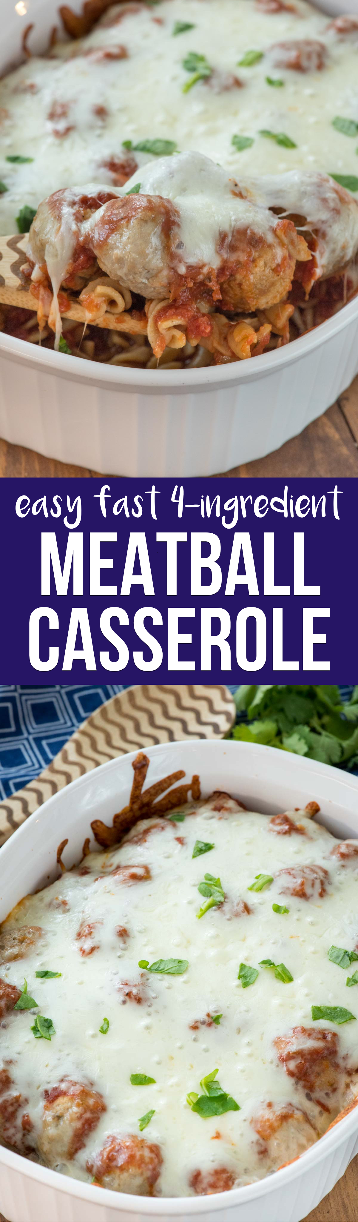Just 4 ingredients in this EASY Meatball Casserole recipe! It's on the table in under 30 minutes and is the perfect weeknight meal!