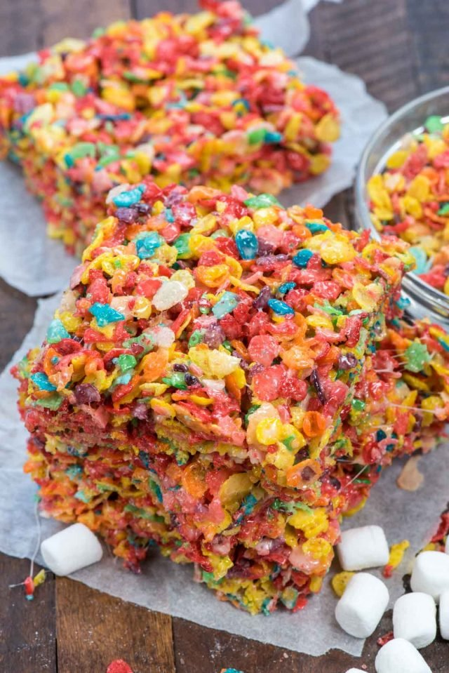 stack of fruity pebble Krispie treats