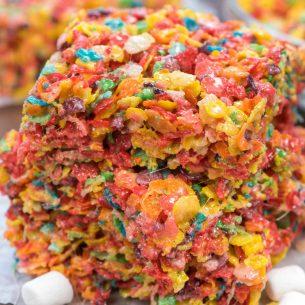 stack of fruity pebble kristpie treats