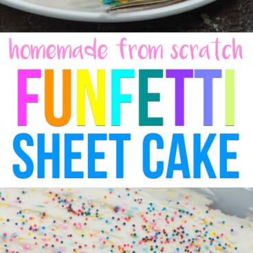 collage of funfetti cake photos