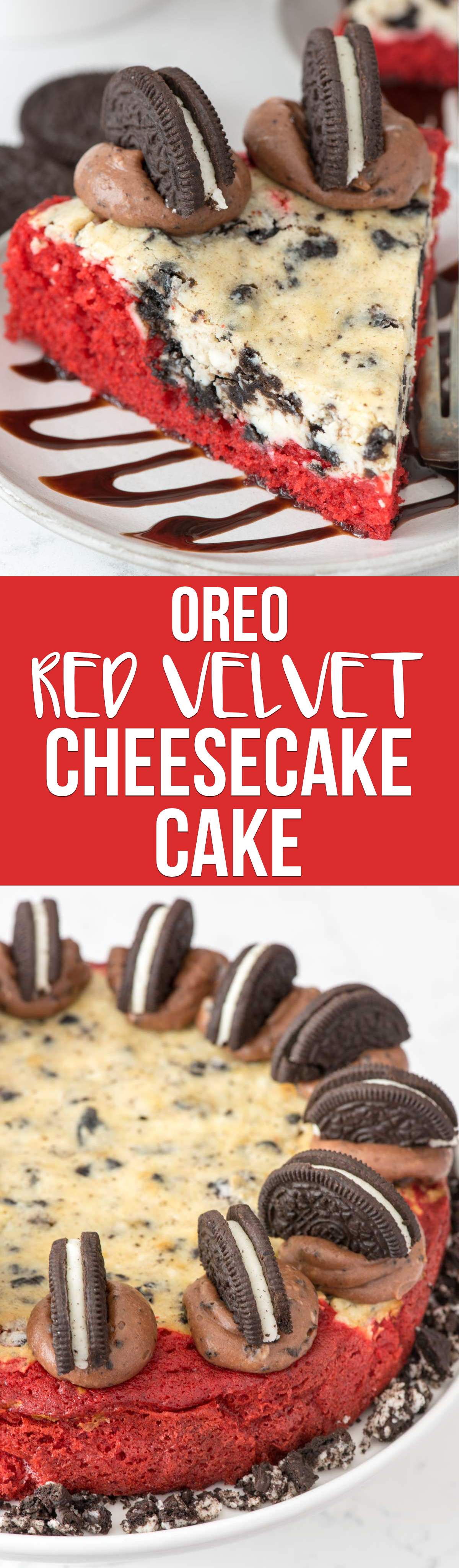 Red Velvet Oreo Cheesecake Cake - this decadent cake recipe combines homemade red velvet cake with a cheesecake layer, chocolate cream cheese frosting, and OREOS!