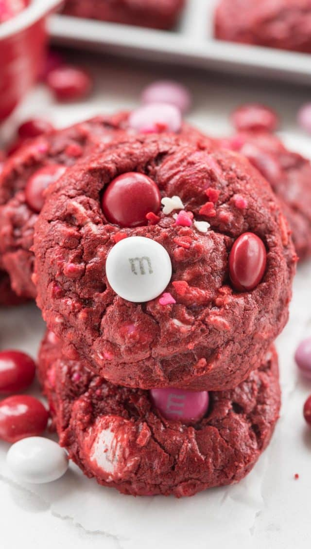 stack of red velvet cookies