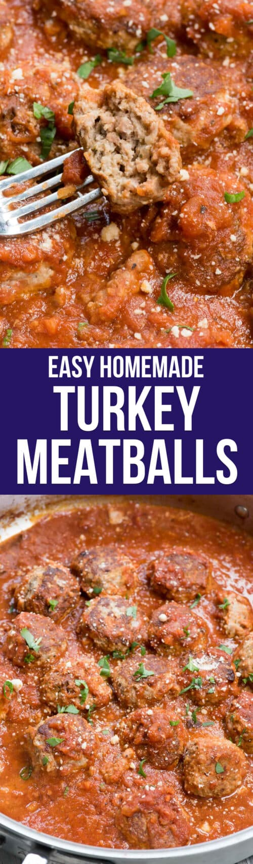 collage of turkey meatballs in sauce