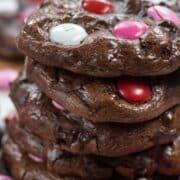 close of of stack of brownie cookies