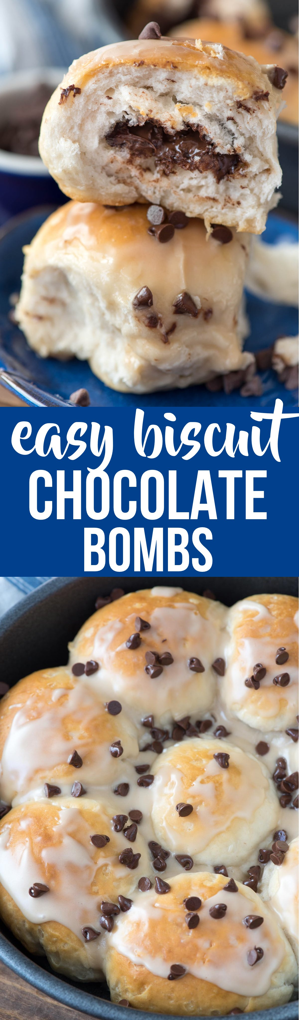 These  Chocolate Biscuit Bombs are like the best chocolate danish ever! Only 2 ingredients, they bake up fast; they're the perfect brunch or dessert recipe.