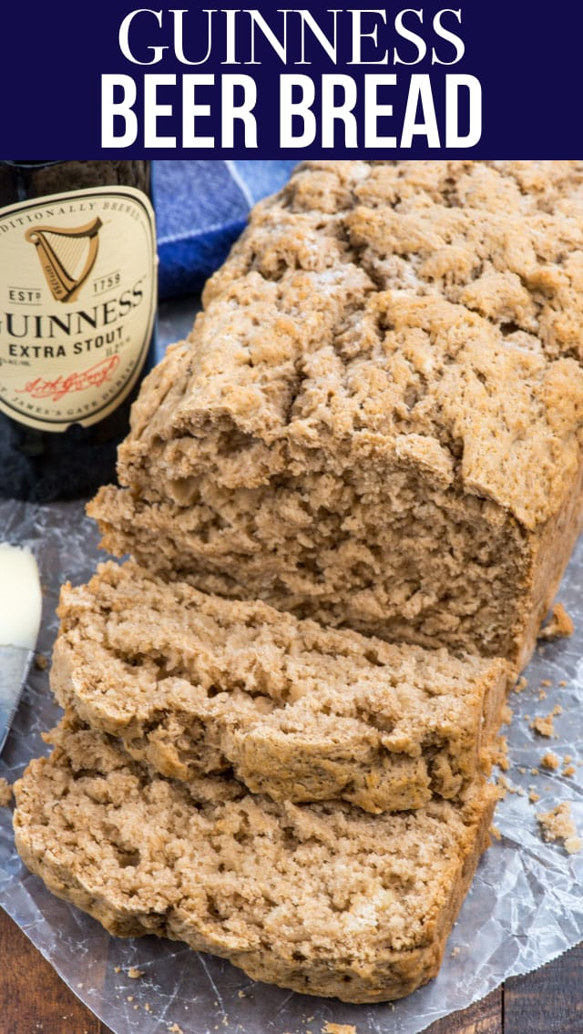 Easy Guinness Beer Bread has only 4 ingredients! This bread recipe is the perfect side dish for stew or soup, especially on St. Patrick's Day. Or, make this with any beer you like on any day of the year!