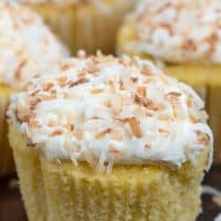 unwrapped coconut cupcake up close