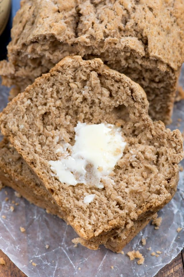slice of beer bread with butter