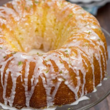 key lime bundt cake on cake stand